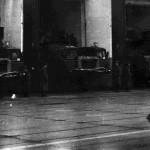 Выход машин подвижного командного пункта из боксов, 396 ракетный полк , Петриков, 1990 год (42retro)