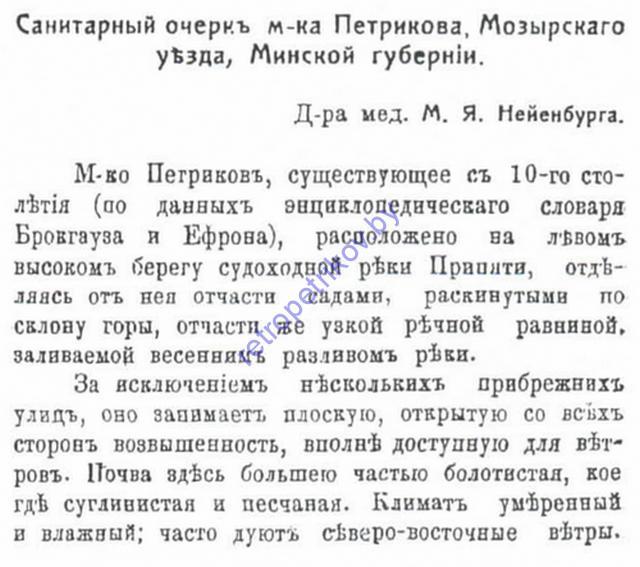 Лист 1 Отчёт о санитарном состоянии города Петриков